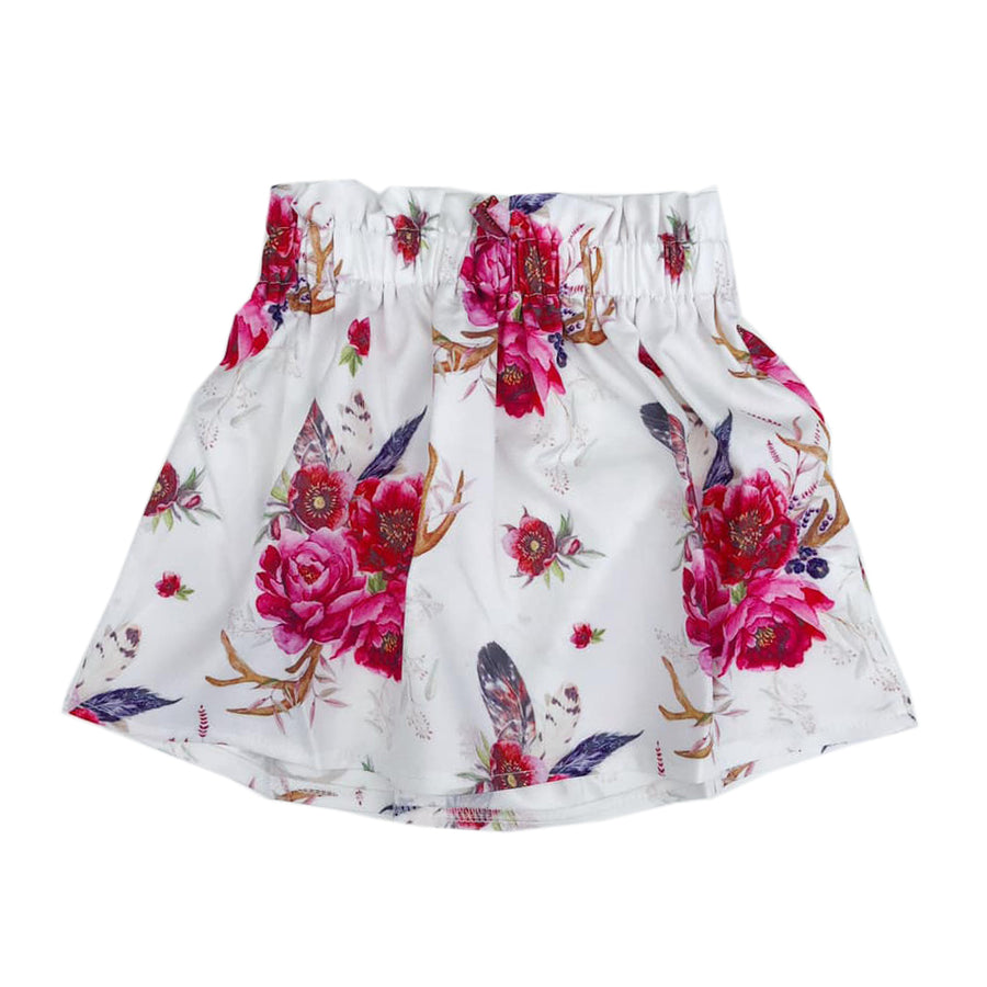 White Floral Paperbag Skirt