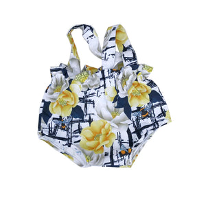 White Floral Paperbag Romper Overalls