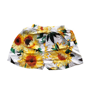 White Flowy Sunflower Shorts