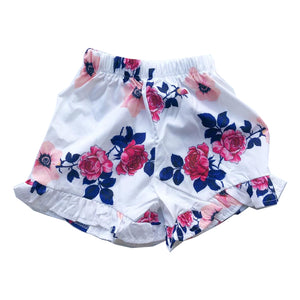 White Floral Frill Shorts