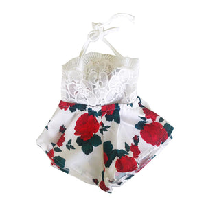 White Rose Halter Romper