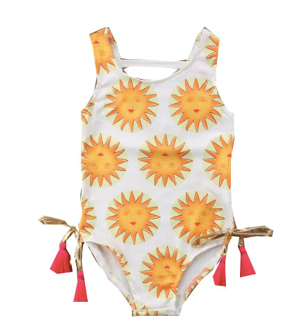 White Sun Print Tassel Detail Swimsuit