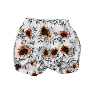 White Sunflower Bubble Shorts