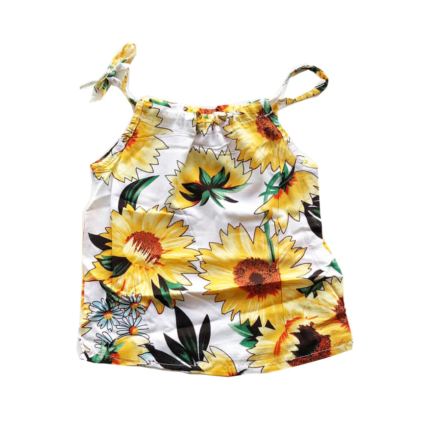 White Draw Strap Sunflower Top