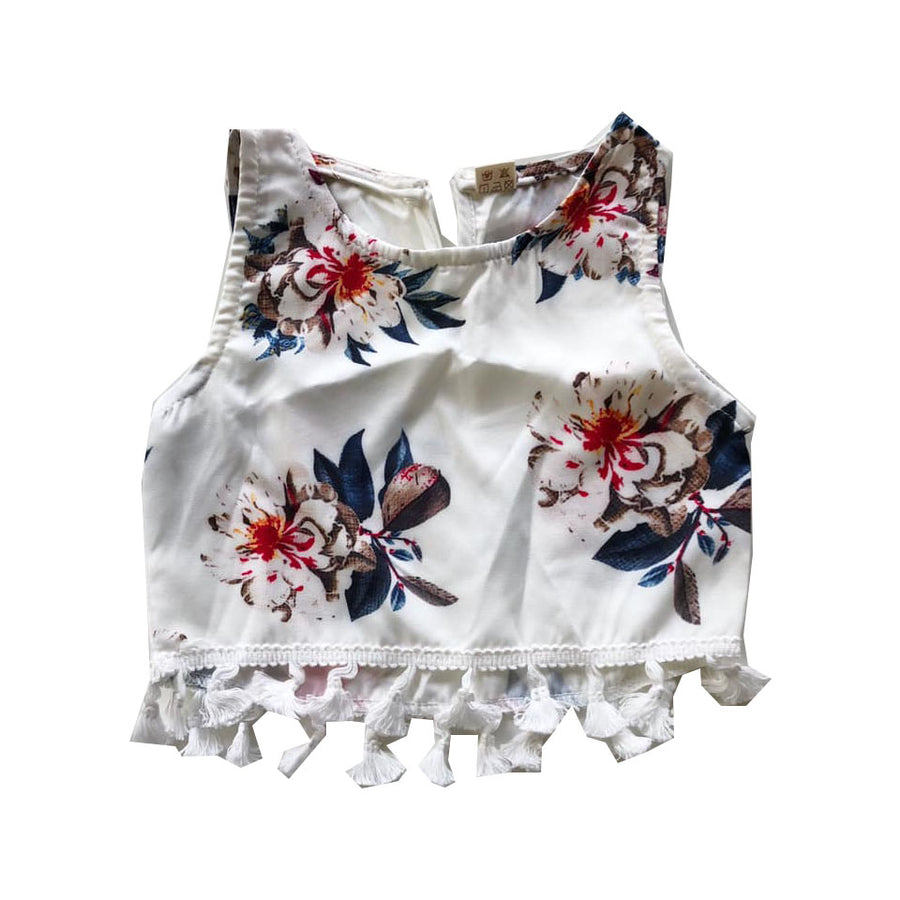 White Tassel Detail Floral Top