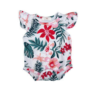 White Tropical Flutter Detail Romper