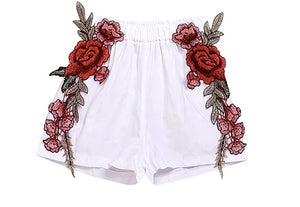 White Appliqué Shorts