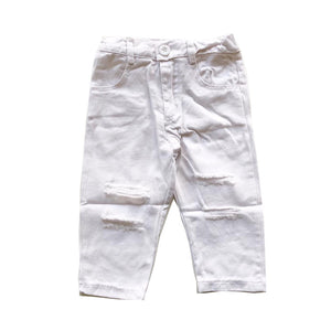 White Essential Distressed Pants