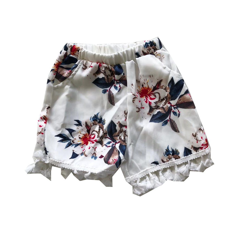 White Floral Tassel Detail Shorts