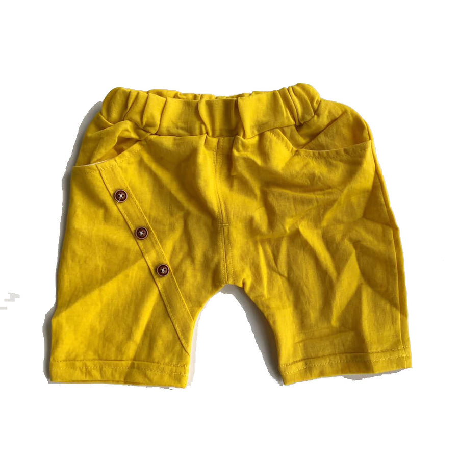 Yellow Button Detail Shorts