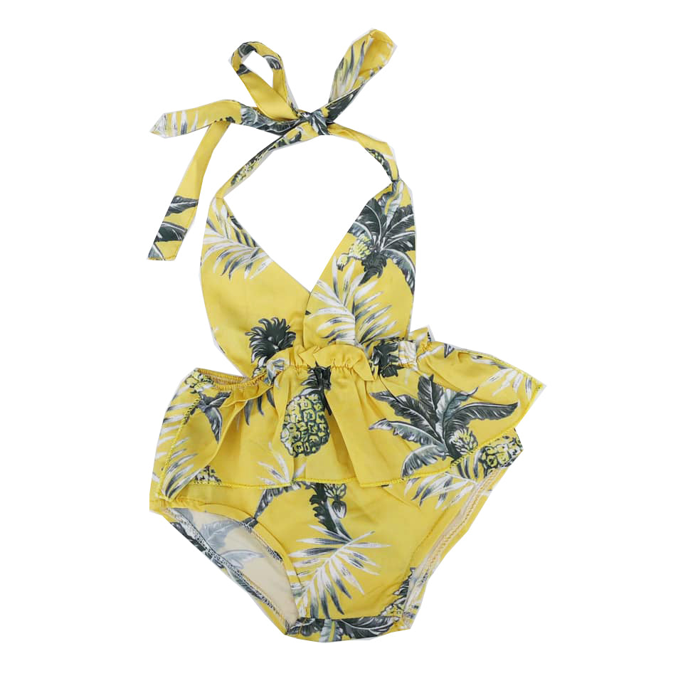Yellow Tropical Print Halter Romper