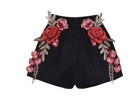 Black Appliqué Shorts