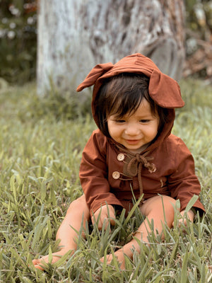 Brown Bear Button Detail Romper