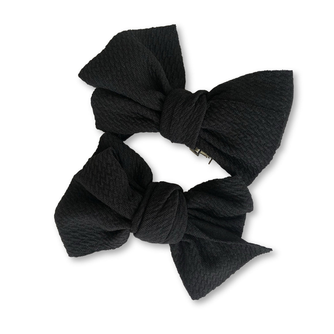 Black Textured Bow Duo