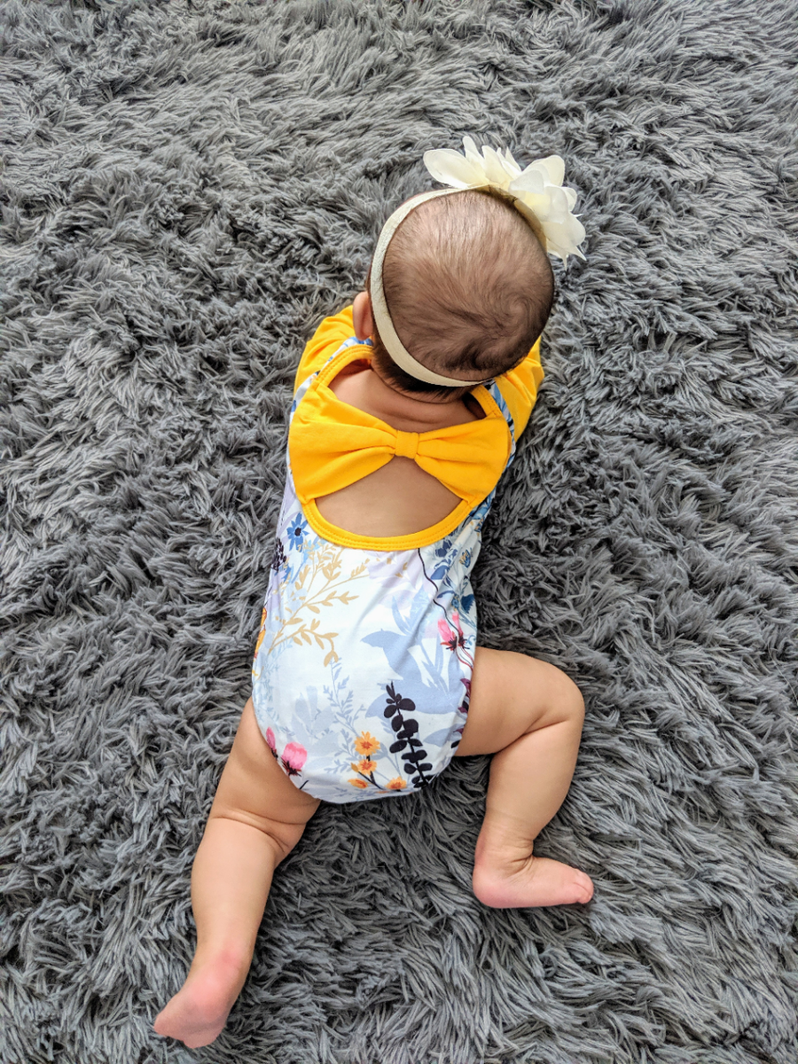 Yellow Floral Back Bow Detail Romper