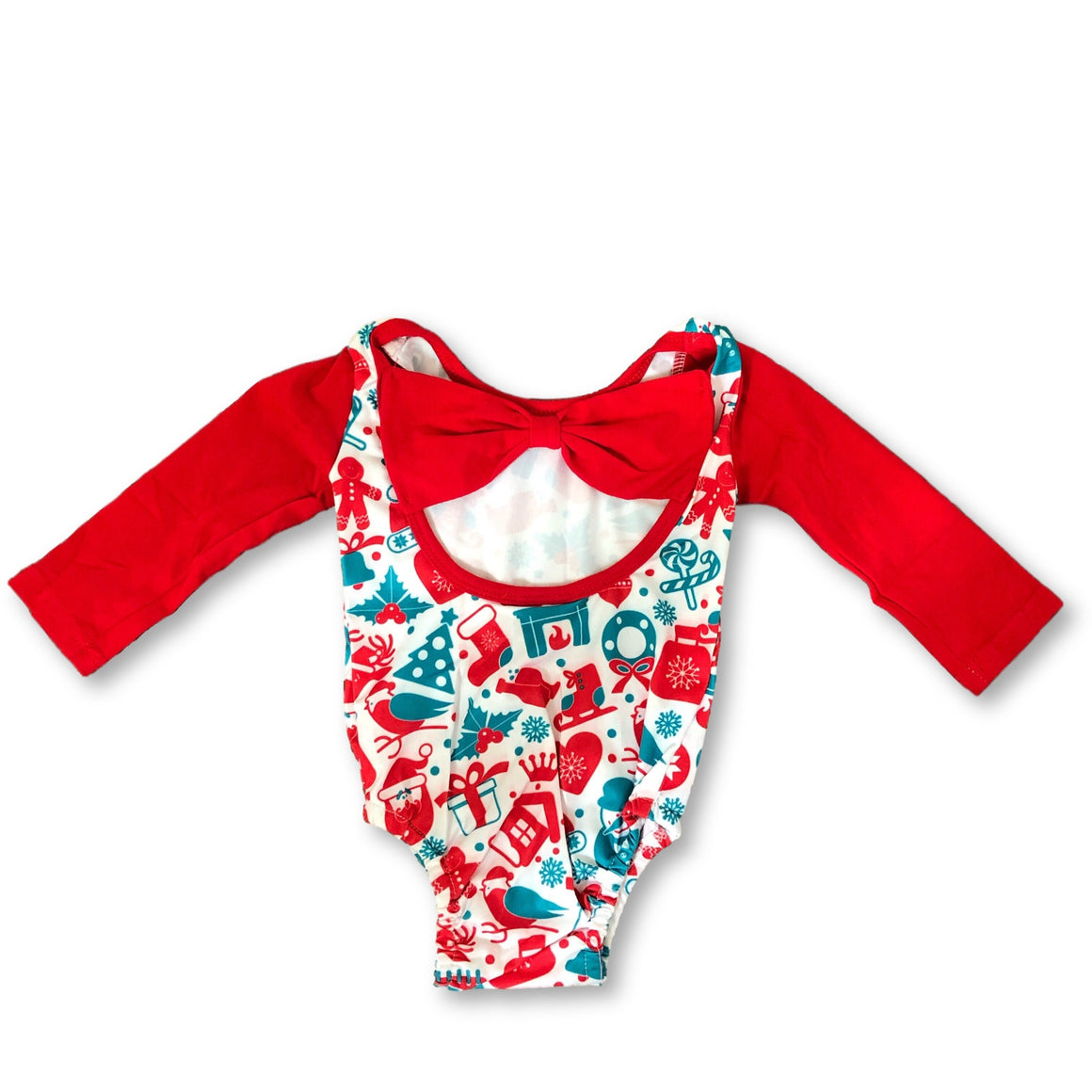 Red Christmas Back Bow Detail Romper