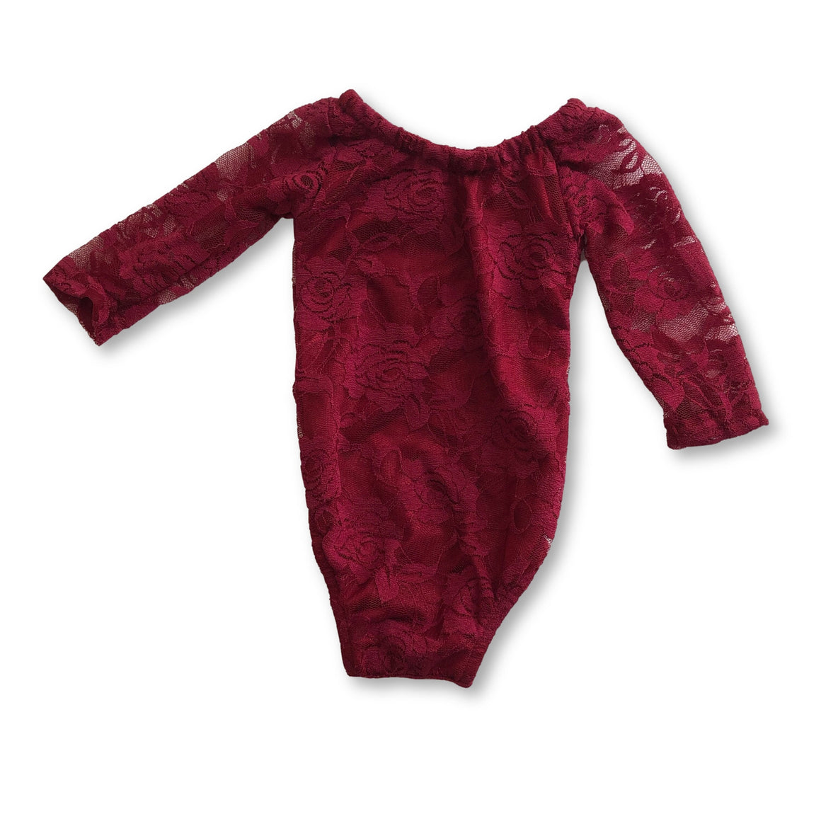 Wine Red Lace Romper