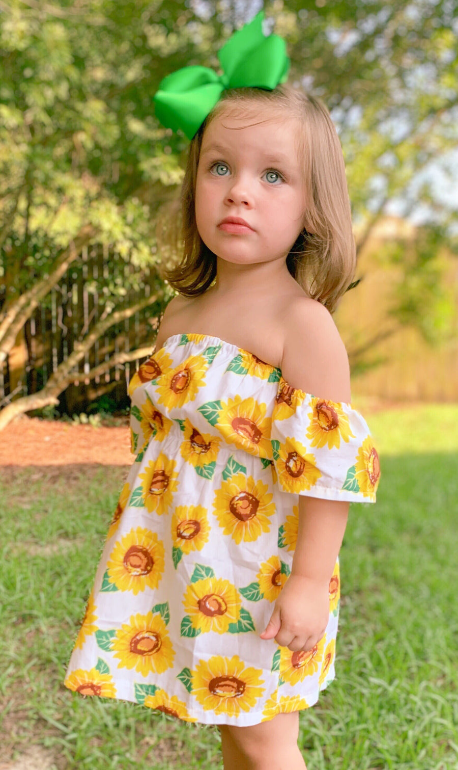 White Sunflower Off Shoulder Dress