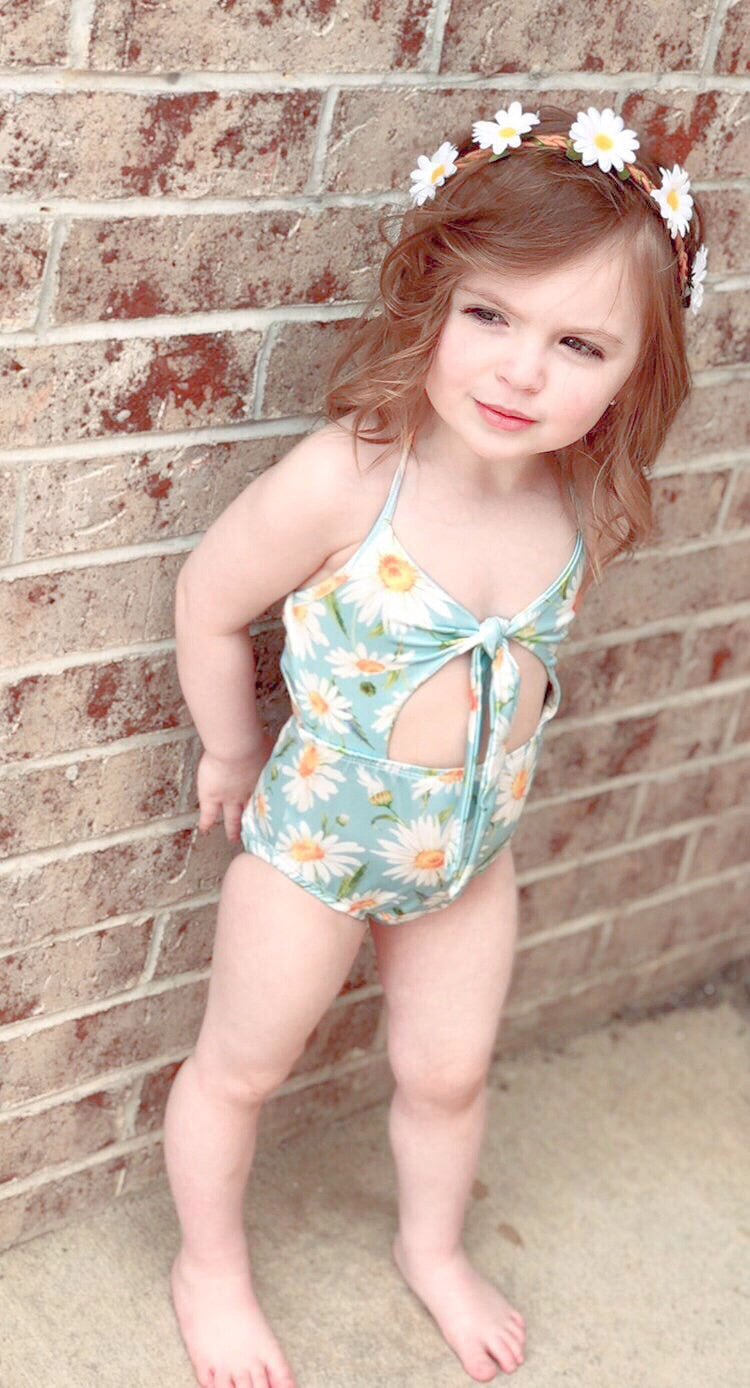 Blue Daisy Front Tie Swimsuit