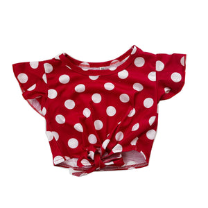 Retro Polka Dot Mid-Tie Crew Neck Top