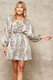 Once Bitten Snake-Print Kimono Mini Dress - ShopPromesa