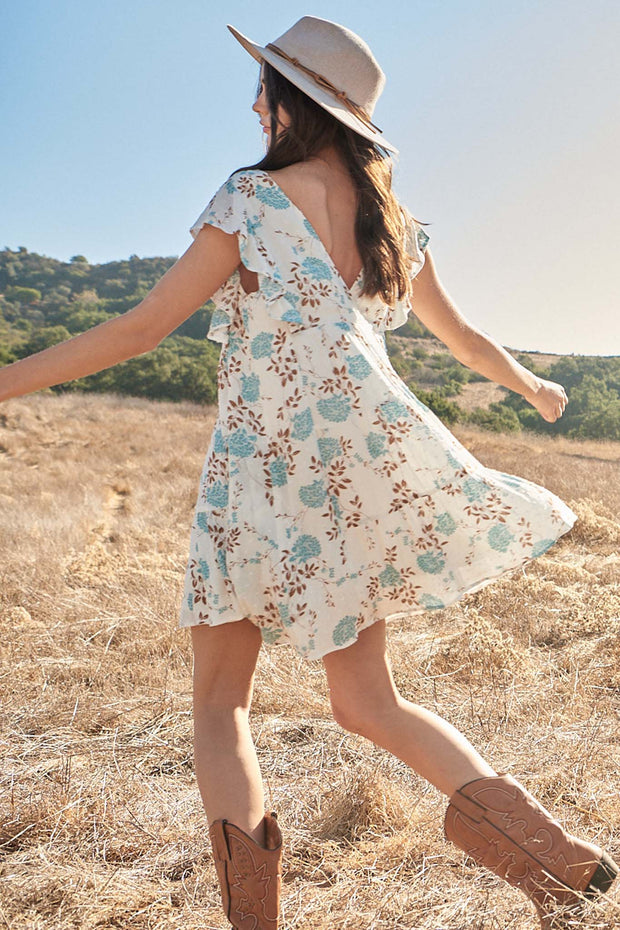 Country Garden Floral Swiss Dot Babydoll Dress