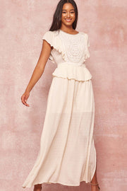 Heirloom Beauty Lace Bib Swiss Dot Maxi Dress - ShopPromesa