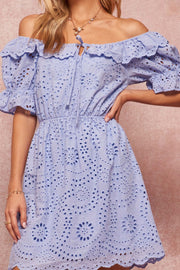 True Love Off-Shoulder Eyelet Lace Mini Dress - ShopPromesa