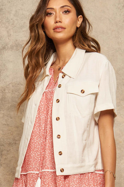 Lighten Up Linen-Blend Short-Sleeve Shirt Jacket