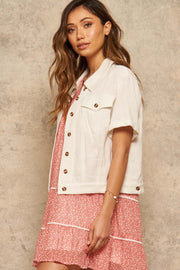 Lighten Up Linen-Blend Short-Sleeve Shirt Jacket - ShopPromesa
