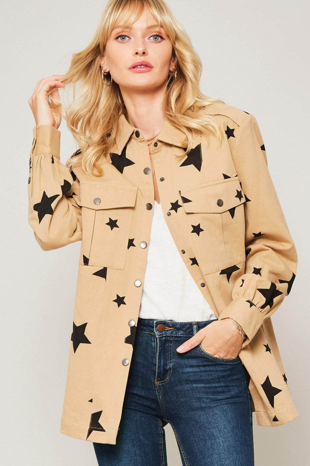 Alpha Bravo Star-Print Military Shirt Jacket - ShopPromesa