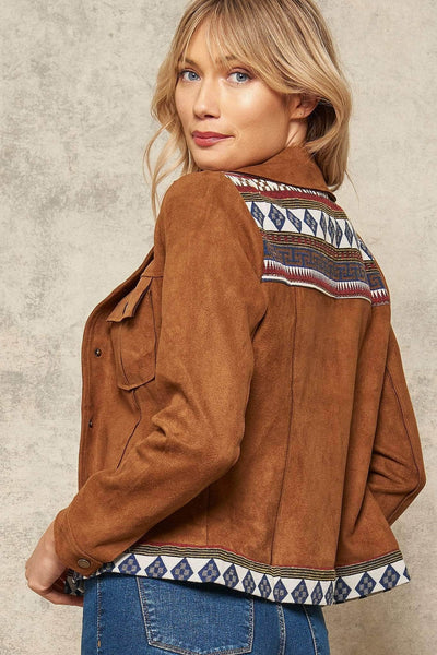 Gimme Shelter Geo-Trim Vegan Suede Jacket