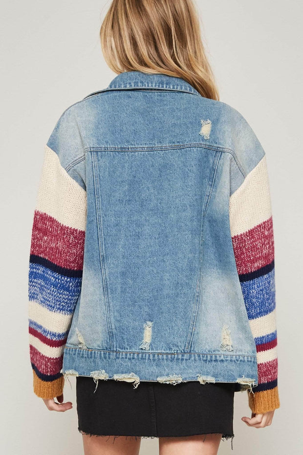 Jean Splicing Sweater-Sleeve Denim Jacket - ShopPromesa
