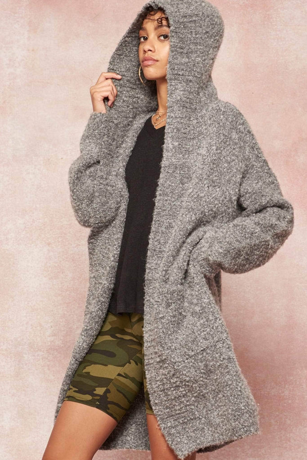 Snuggle Up Textured Knit Hooded Cardigan - ShopPromesa