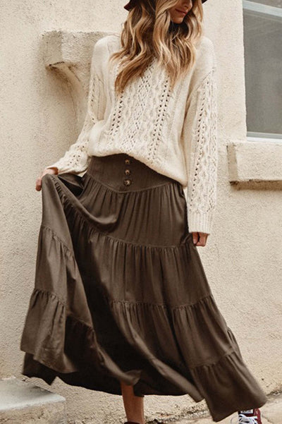 High Plains Buttoned Maxi Prairie Skirt