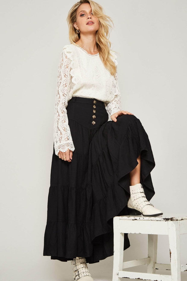 High Plains Buttoned Maxi Pairie Skirt - ShopPromesa