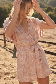 Wild Roses Floral Swiss Dot Belted Romper - ShopPromesa