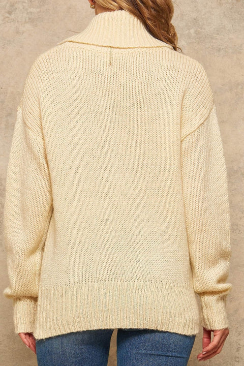 Above the Fold Oversized Cowl Neck Sweater - ShopPromesa