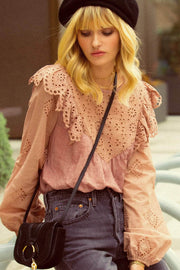 Secret Love Ruffled Eyelet Lace Peasant Top - ShopPromesa