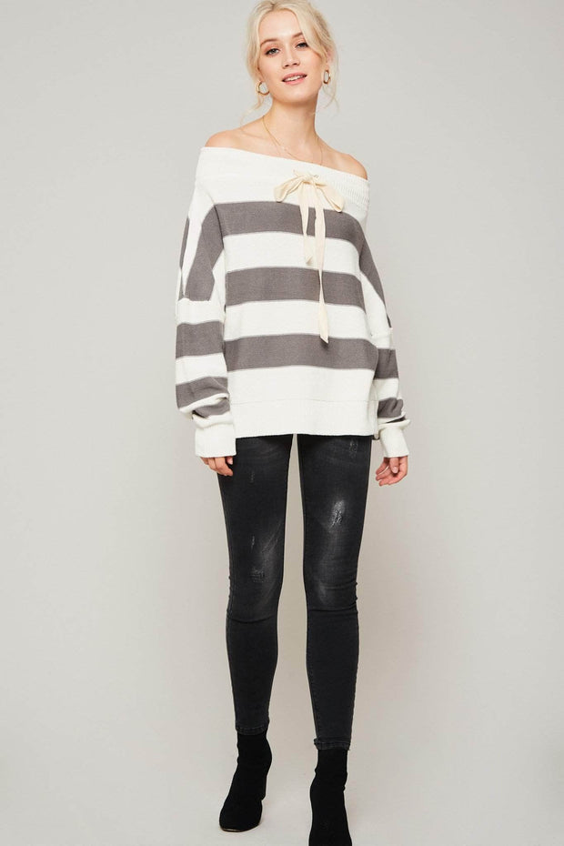 Get It Straight Off-Shoulder Striped Sweater - ShopPromesa