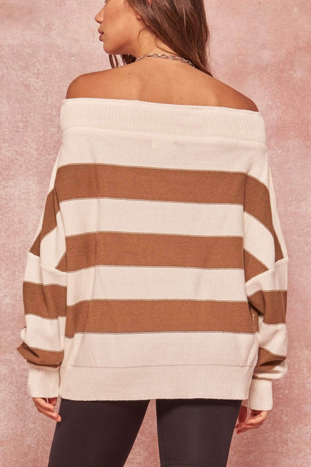 Get It Straight Off-Shoulder Striped Sweater