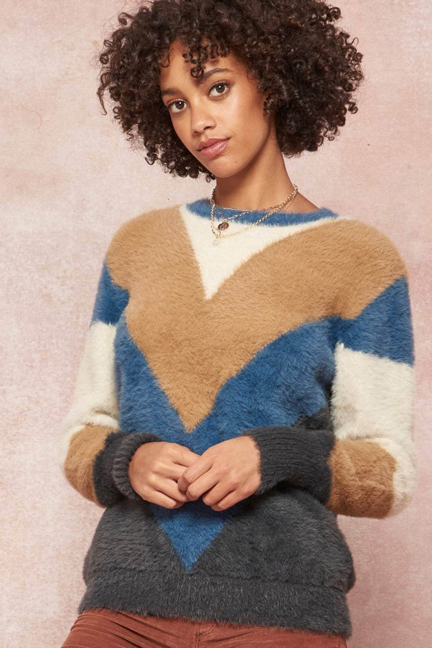Plush Life Furry Knit Colorblock Sweater - ShopPromesa