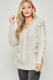 Cozy Town Fringed Cable Knit Sweater - ShopPromesa