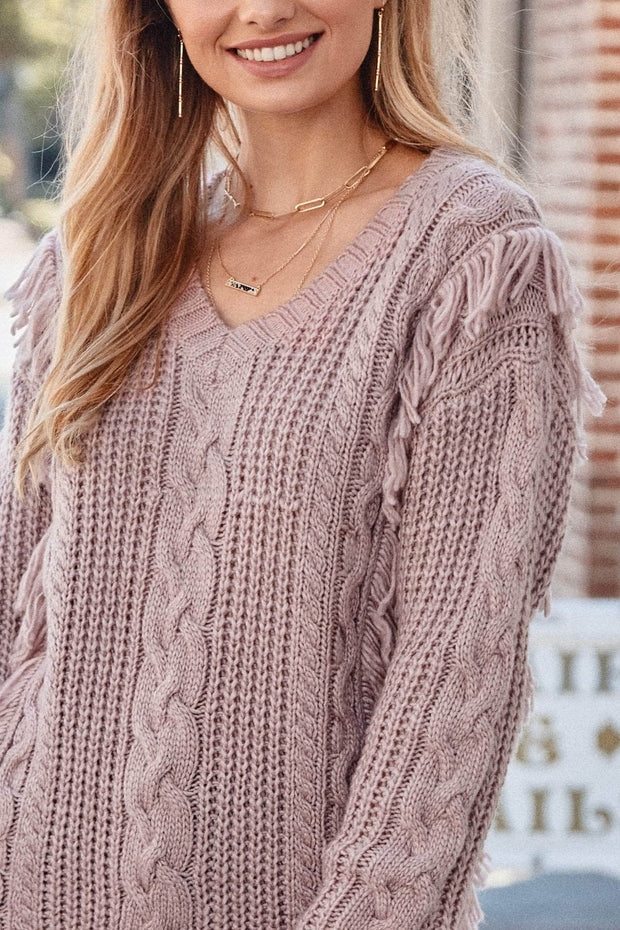 Cozy Town Fringed Cable Knit Sweater