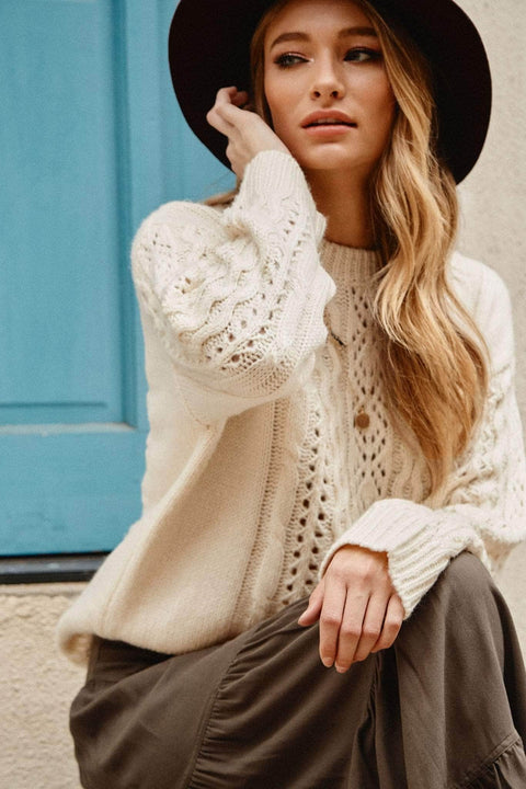 Fascinating Rhythm Eyelet Cable Knit Sweater - ShopPromesa