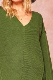 Living Large Oversized Rib-Knit V-Neck Sweater - ShopPromesa