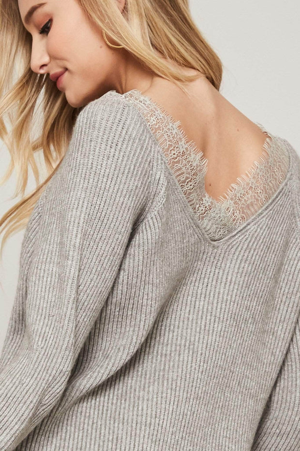 Sweet Emotion Lace V-Neck Rib-Knit Sweater - ShopPromesa