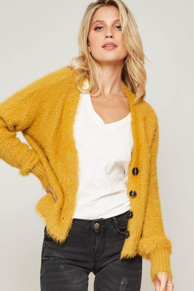 Hunny Bunny Furry Knit Button-Front Cardigan - ShopPromesa