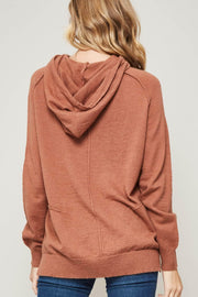 Sidewalk Talk Exposed-Seam Hooded Sweater - ShopPromesa