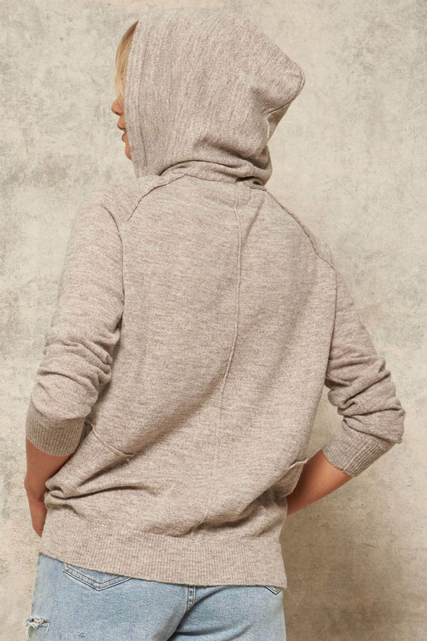 Sidewalk Talk Exposed-Seam Hooded Sweater